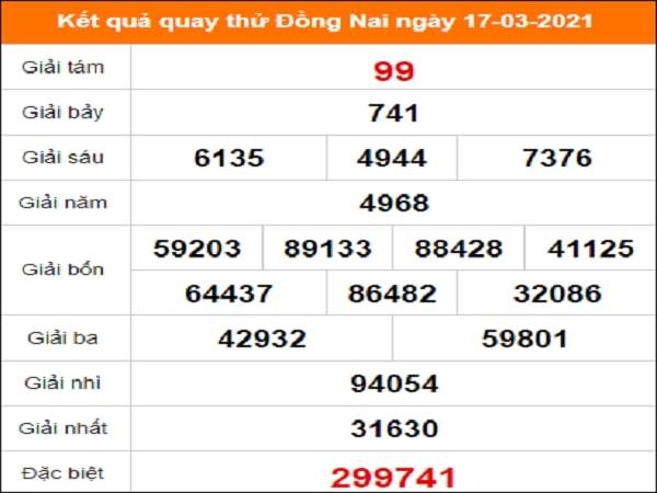 Quay thử kết quả xổ số Đồng Nai 17/3/2021